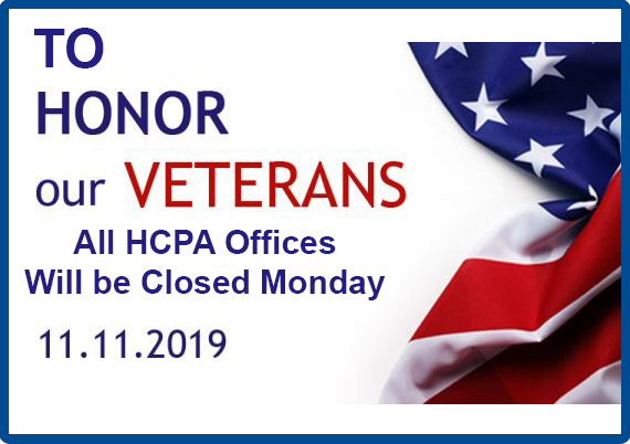 HCPA Offices Closed Veterans Day